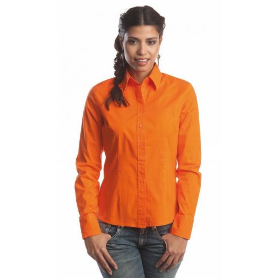 Oranje katoenen overhemd met lange mouwen voor dames