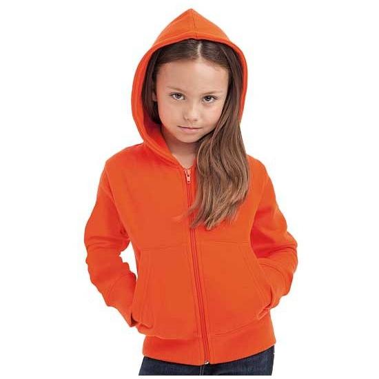 Oranje kinder vest met capuchon