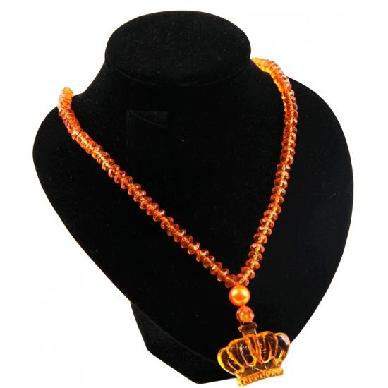 Oranje kralen ketting met kroon
