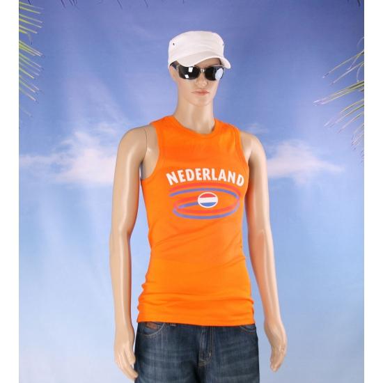 Oranje mouwloos shirt met Nederland vlag