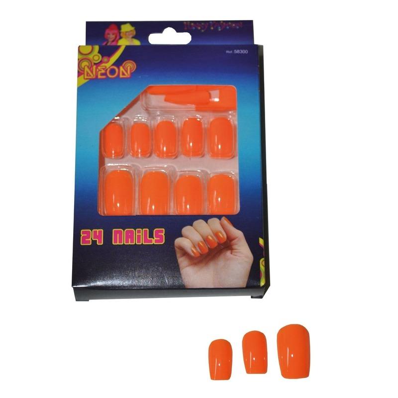 Oranje neon nepnagels