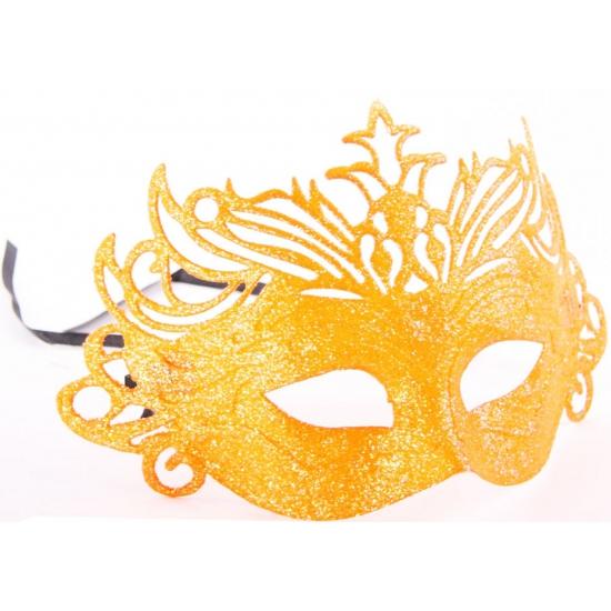 Oranje oogmasker met kroon