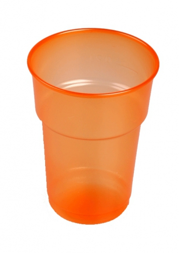 Oranje plastic bierglazen 75 stuks