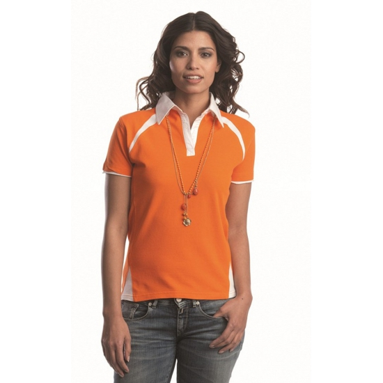Oranje polo t shirt voor dames