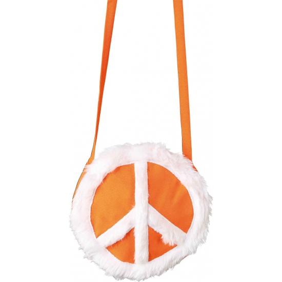 Oranje ronde tas met peace teken