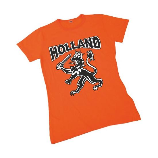 Oranje supporters shirt met leeuw voor dames