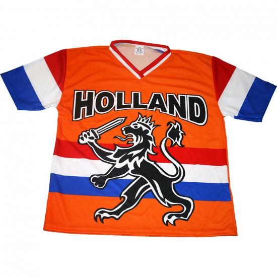 Oranje supporters shirt met zwarte leeuw en vlag