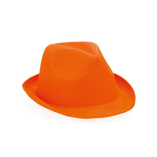Oranje trilby hoeden
