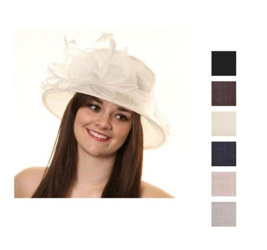 Organza dames hoed met grote roos