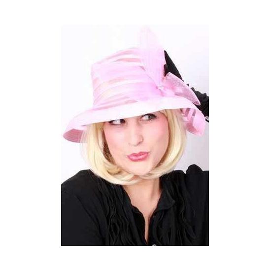 Organza dames hoed met strik roze