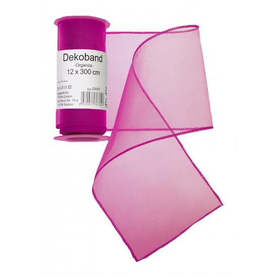 Organza rol fuchsia roze 12 x 300 cm