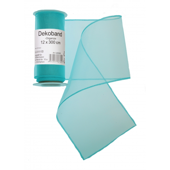 Organza rol turquoise 12 x 300 cm
