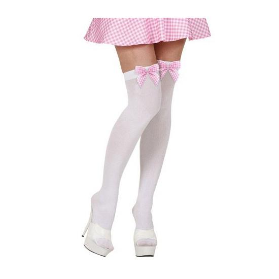 Overknee kousen wit met roze strik