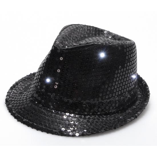 Pailletten hoedje zwart met LED licht