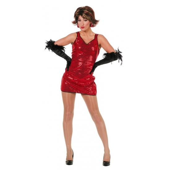 Pailletten jurkje rood voor dames