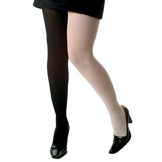 Panty met een zwart en een wit been