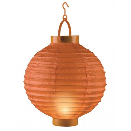 Papieren lantaarn oranje met licht 20 cm