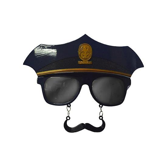 Party bril snor met politiepet