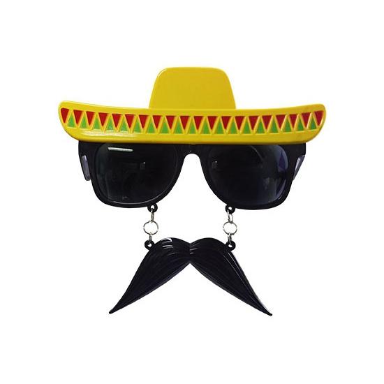 Party bril snor met sombrero