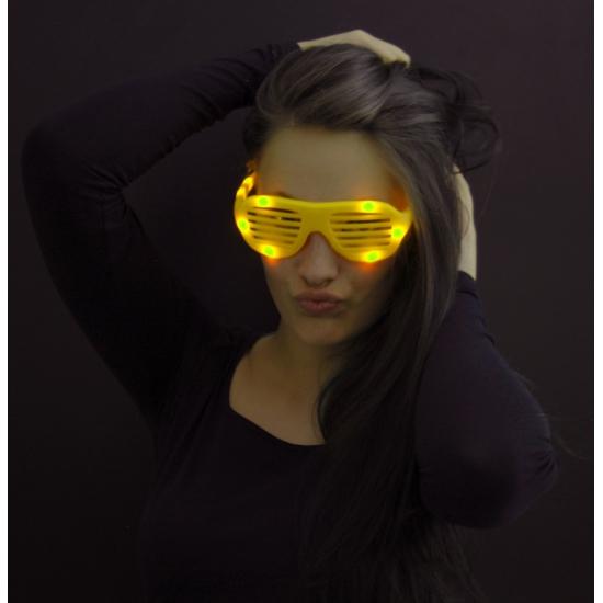 Party lamellenbril met gele lichtjes