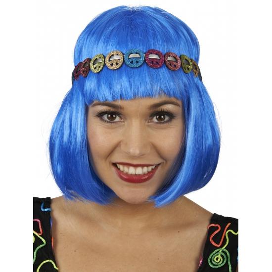 Peace hippie hoofdband met glitter