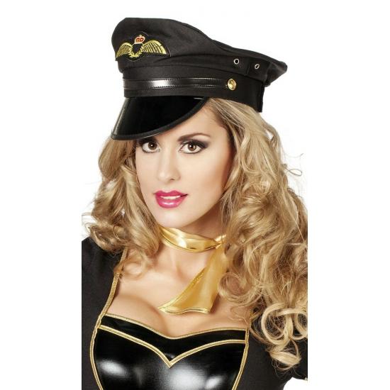 Piloten hoed zwart