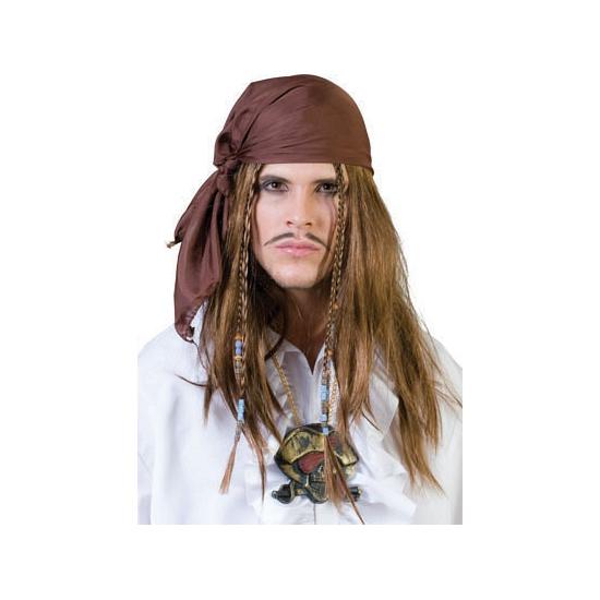 Piraten bandana met pruik