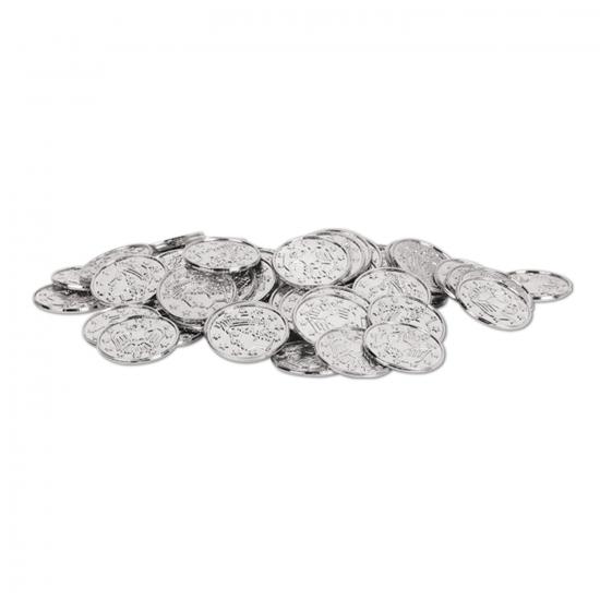 Piratengeld zilveren munten 100 stuks