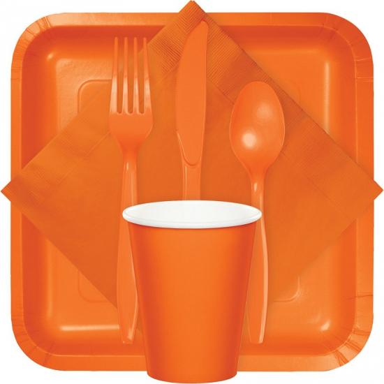 Plastic feest bestek oranje