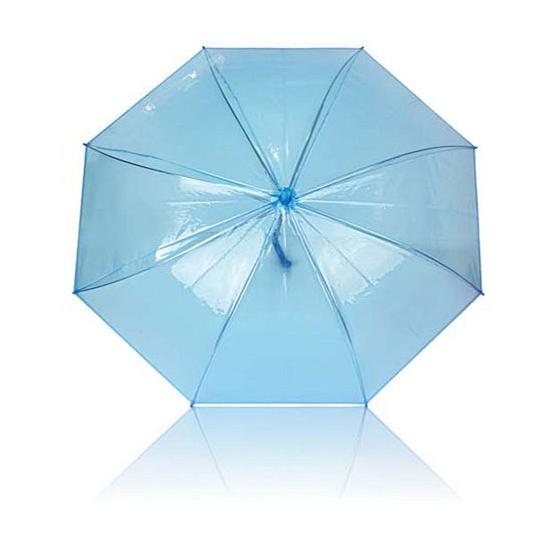 Plastic paraplu blauw doorzichtig