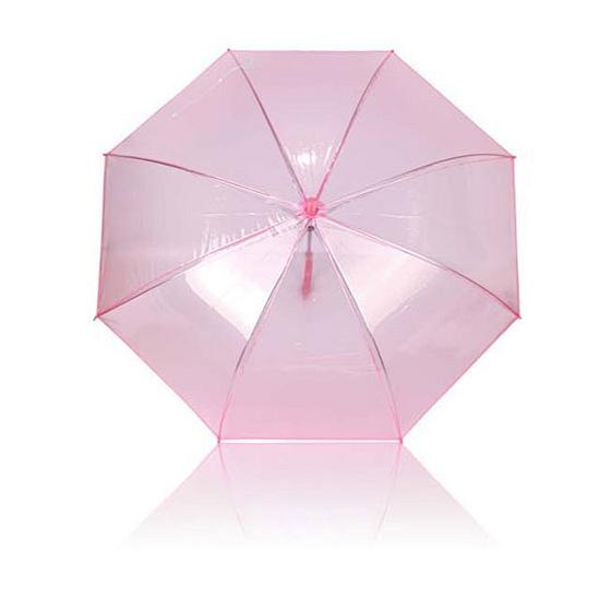 Plastic paraplu roze doorzichtig