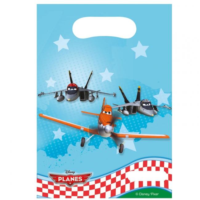 Plastic uitdeelzakjes voor kinderverjaardag Planes 6 stuks