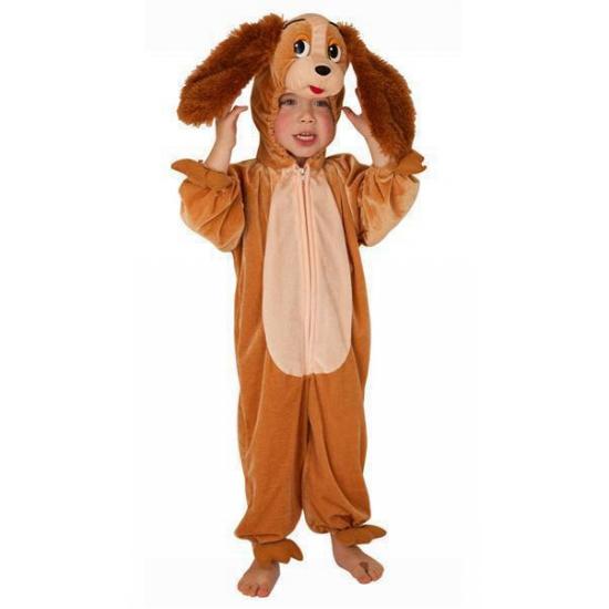 Pluche honden kostuum bruin