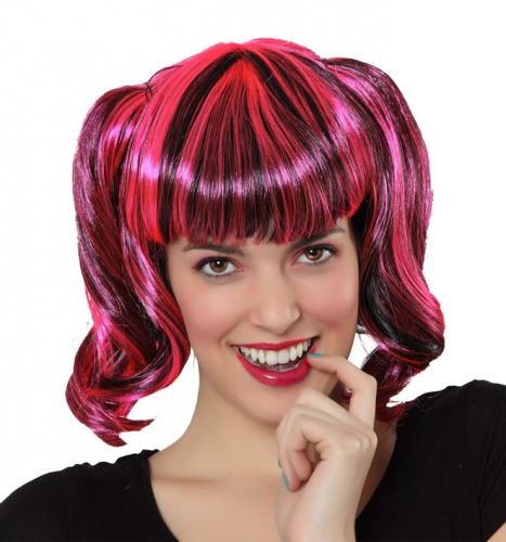 Pruik met zwart en roze haar