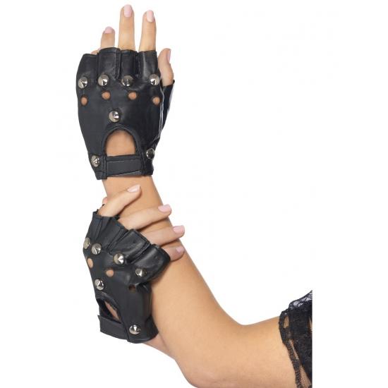 Punk handschoenen met zilveren stuts