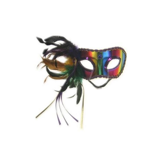 Regenboog oogmasker met veren