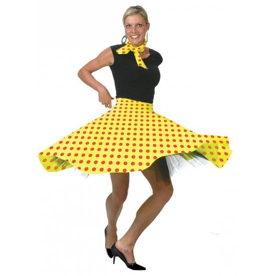 Rock en Roll verkleed rok geel