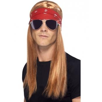Rocker pruik, bril en bandana