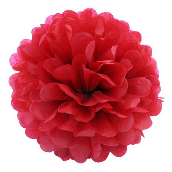 Rode bloem pompom 35 cm