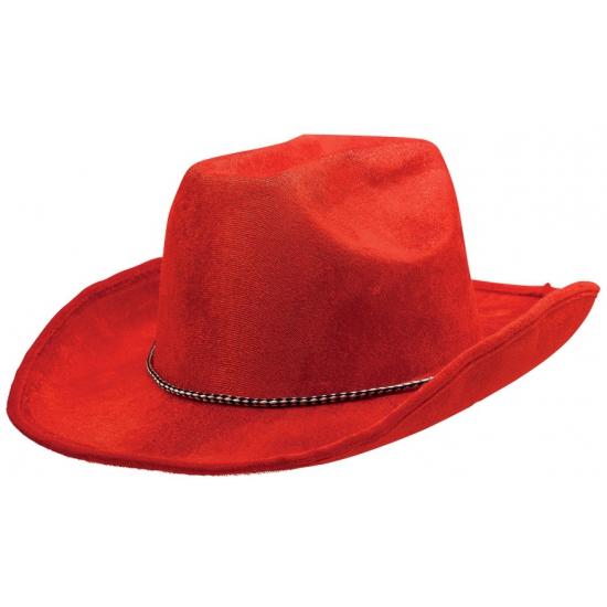 Rode cowboyhoed met koordje