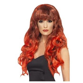 Rode dames pruiken lang haar