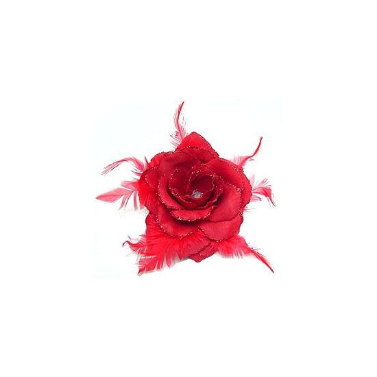 Rode glitter roos voor in het haar