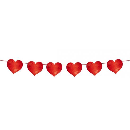 Rode hartjes slingers 6 meter