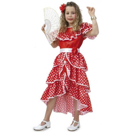 Rode jurk met witte stippen meisjes