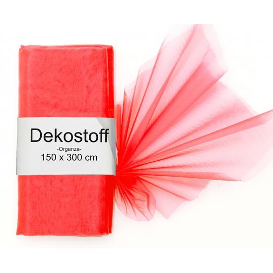 Rode organza stof 150 x 300 cm