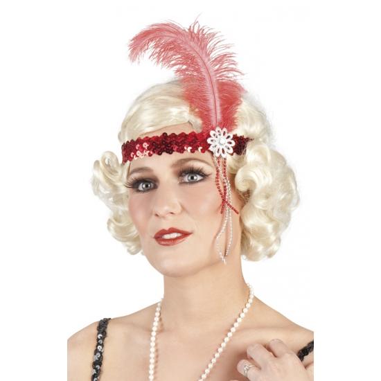 Rode pailletten hoofdband met veer