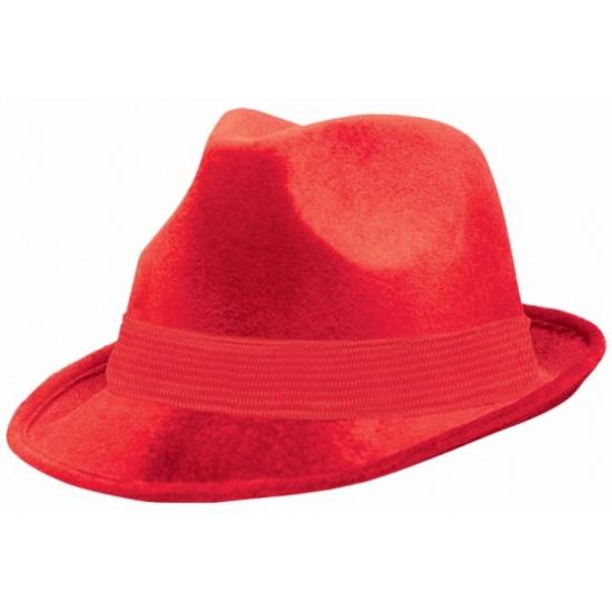 Rode suede hoed