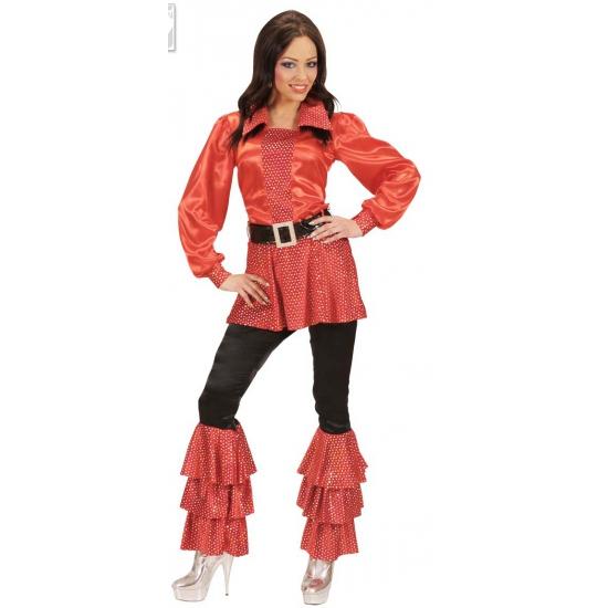 Rood dames shirt met zwarte riem