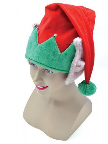 Rood met groene kerst muts met elf oren