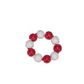 Rood met witte kralenarmband